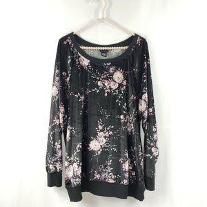 Torrid Black Velvet Floral Pullover Sweatshirt